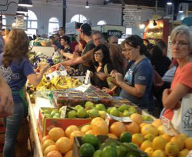 Busy stand at Lancaster Central Market.