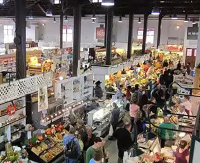 Overhead photo of Lancaster Central Market.